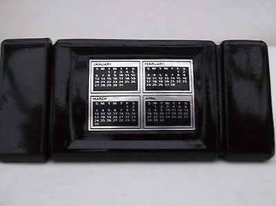 Vintage Collectable Avon Bottle Of A Desk Calendar With Black Suede Aftershave