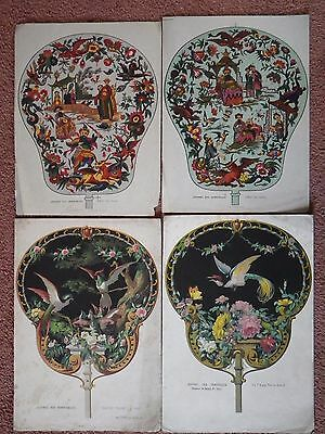 Vintage Collection of four printed fans from Journal Des Demoiselles