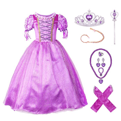 Princess Rapunzel Party kids Dress Costume Dress Ball Gown for girls 2-10 Y