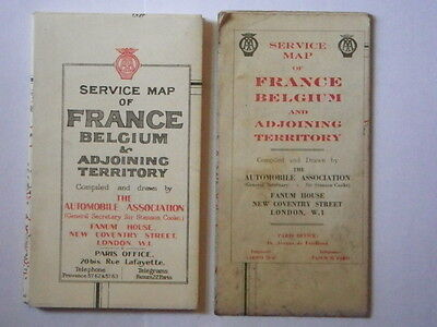 Two Vintage Service Maps of France, Belgium & Adjoining Territory, The AA