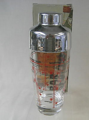 Italian Made Glass Bar Cocktail Shaker with Stainless Steel Lid in Box
