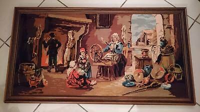 Vintage framed large tapestry wall hanging embroidery