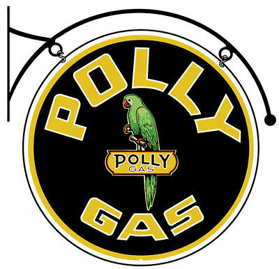 """Polly Gas Parrot 22"""" Round Double Sided Hanging Metal Sign"""
