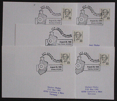 USA Five Illustrated Railway Station Postmark Postcards from Virginia Stations