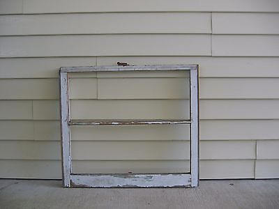 "Vintage 2 Pane White Wood Window 32"" X 28"" Glass Has Been Removed"