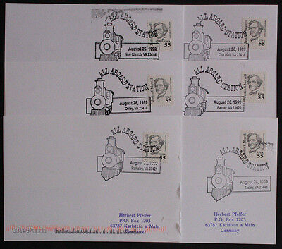USA Six Illustrated Railway Station Postmark Postcards from Virginia Stations