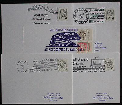 USA Five Illustrated Railway Station Postmark Postcards from Various Stations