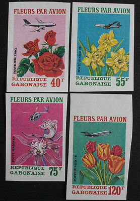 Gabon 1971 Flowers by Air Top 4 Values SG412/5 IMPERF MNH/UM