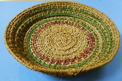"VTG INDIAN native American COILED grass over bent wood dish BASKET 7""~PURPLE/GRE"