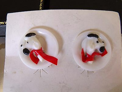 Vintage Jewellery 50S Celluloid Poodle Dog Red Bow Clip Earrings Original Card