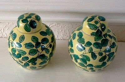Pair of Vintage Porcelain Ginger Jars