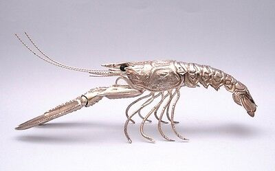 SUPERB SOLID SILVER FULLY ARTICULATED LOBSTER FIGURE. LENGHT 24 cm / 9.4 inch