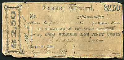 1862 $2.50 Two & A Half Dollars Treasury Warrant Austin, Tx