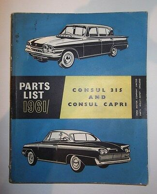 Ford Consul Classic 315 & Consul Capri Parts List Book (inc GT)