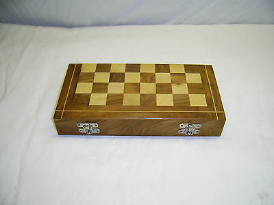 Travel Chess And Draughts Set In Wooden Case.