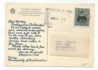 Liechtenstein 1954 PC Cover to US, Shoppers Club, Color Views