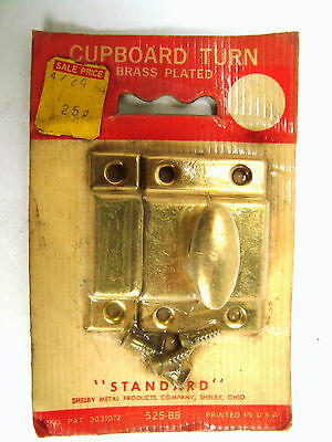 2 Vintage Brass Plated**New Old Stock*Cupboard Turn Latch*W/Screws*Knob*Cabinet