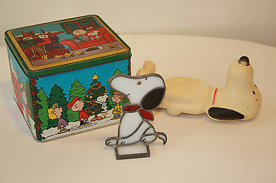 Vintage Snoopy Lot Tin, Soap Dish, Leaded Glass Figure