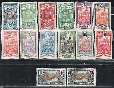 1922 French colony stamps, Polynesia, full set MH, YT 47-60
