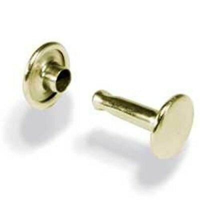 Double Cap Rivets Solid Brass 100 Pack - 3 Sizes