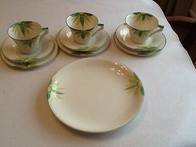 1930,s art deco cups saucers teaplates and large plate