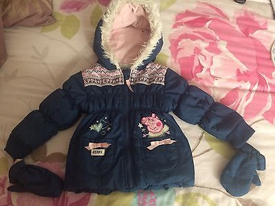 Girls Peppa Pig Winter Parka Coat With Mittens 12-18 Months
