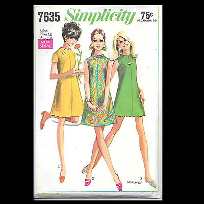 Vintage Simplicity Pattern 7635 Misses' Dress in Two Lengths & Necklines 1968