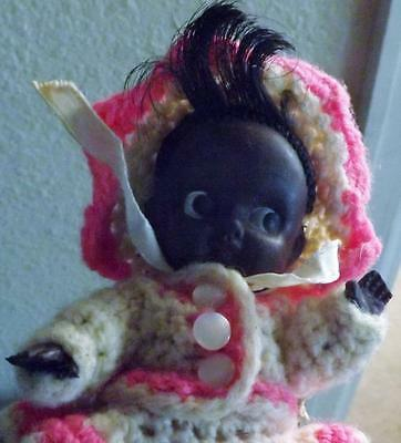 Vintage Baby Doll Black Rubber in Crocheted Outfit Cloth Body Adorable 5 1/2""
