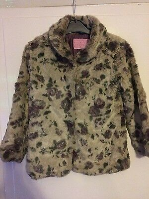 girls floral fake fur coat age 8 years from TU