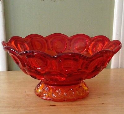 Vintage Pressed Glass footed Ruby bowl in thumbprint design