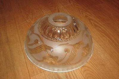 Vintage Glass Frosted/Clear Floral Ceiling Light Fixture #2371
