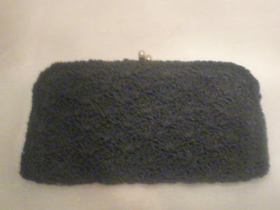 A Vintage Black Clutch Evening Bag with Delicate Beadwork