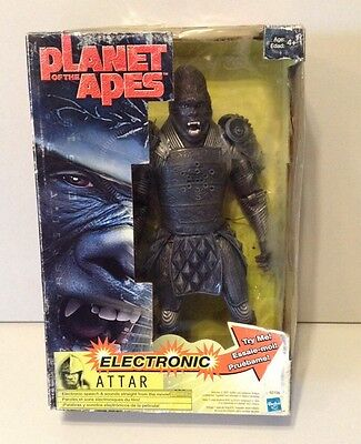 "2001 Hasbro planet of the apes electronic talking ""ATTAR"" in original box works!"