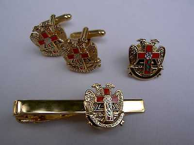 Rose Croix  Set: Cufflinks Tie Clip & Pin ~  Masonic Cross Beautiful Tiered Dsgn