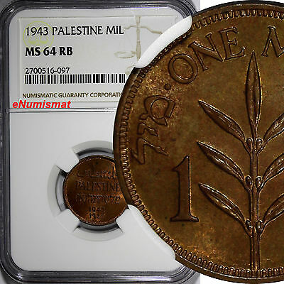 Palestine British Administration Bronze 1943 1 Mil NGC MS64 RB HIGH GRADE KM# 1