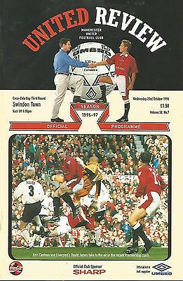 Manchester United v Swindon Town - League Cup - 23/10/1996 - Football Programme