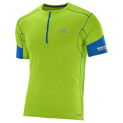 -- Salomon T-Shirt Agile HZ Half Zip SS Tee, Granny Green/Blue (A07)