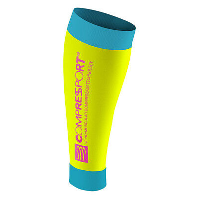 Compressport Gambaletti a Compressione Calf R2 Race and Recovery, Fluo Yellow