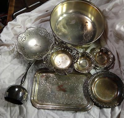 vintage silver plated lot tray bowl etc