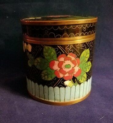 Vintage Chinese Cloisonne Enamel Round Tea Caddy With Seasonal Floral Design
