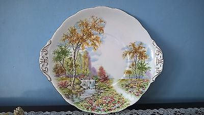 "Royal Standard ""the Old Mill Stream"" China Earred Cake Or Sandwich Plate"