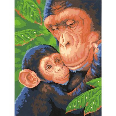 """Paint Works Paint By Number Kit 9""""X12""""-Chimp & Baby"""