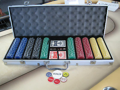 500 Chips Poker Super Diamond Chip Set W/ Dice Decks Dealer Kit & Silver Case*