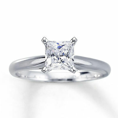 1.0 ct Princess Cut Solitaire Engagement Ring in Solid 14k White Gold