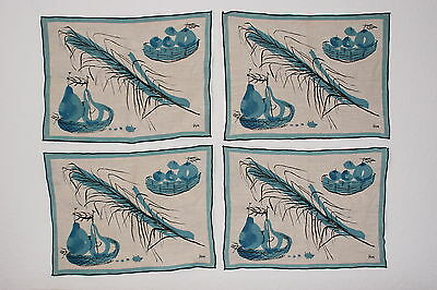 Vintage Vera Neumann Linen Fruit and Basket Placemats Set of 4