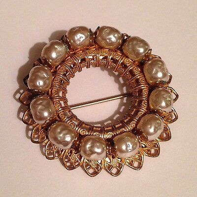 Vintage Miriam Haskell Faux Baroque Pearl Filigree Pin Brooch