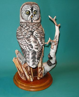 Franklin Mint The Great Grey Owl Porcelain Sculpture By McMonigle Mint