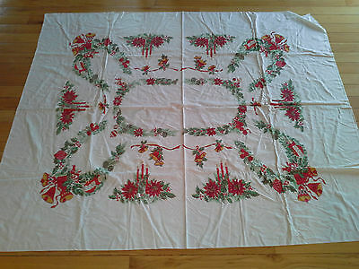 Crisp Clean Vintage Christmas Poinsetta Pinecone Candle Holiday Table Cloth
