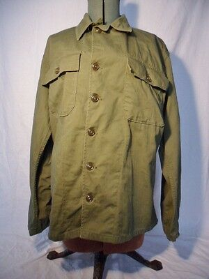 Vintage Green Army Military Herringbone Twill Shirt Size Small