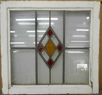 "OLD ENGLISH LEADED STAINED GLASS WINDOW Sweet Simple Geo 21.75"" x 20.25"""